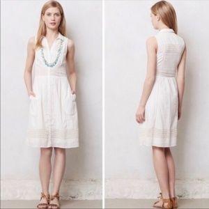 Anthro Maeve White Swiss Dot Button Down Dress